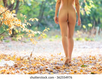 Cropped view of beautiful naked woman walking in fall forest