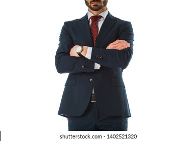 cropped view of businessman in black suit standing with crossed arms isolated on white