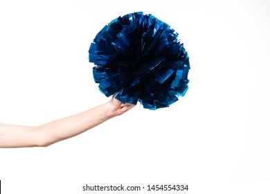 cropped view of cheerleader girl holding blue pompom isolated on white