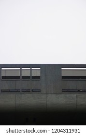 Cropped view of a modern contemporary concrete façade of a concrete building in the Ueno Park in Tokyo