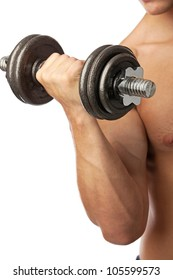 Cropped view of a muscular man lifting weights over white
