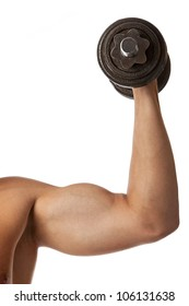 Cropped view of a muscular man lifting a dumbbell over white
