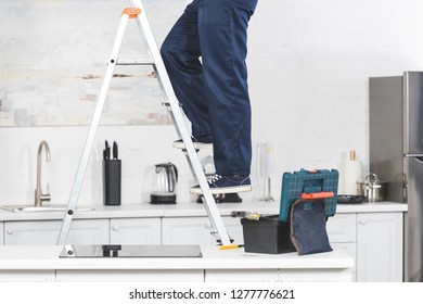 Incredible Repairman Ladder Images Stock Photos Vectors Shutterstock Machost Co Dining Chair Design Ideas Machostcouk