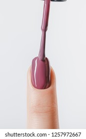 cropped view of woman applying lilac pastel nail polish on fingernail isolated on grey