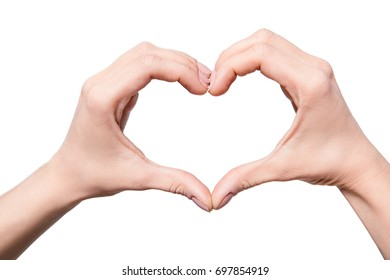 cropped view of woman making heart sign of hands, isolated on white