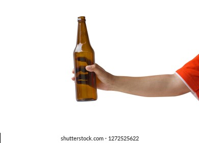 Cropped of woman hand holding beer bottle without label isolated on white background. Clipping path include.