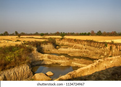 Cropping or crofting agriculture in India. Small private fields alternate with ponds for irrigation, roads and boundary wood belt, crop and livestock farming. Storage pond. Madhya Pradesh