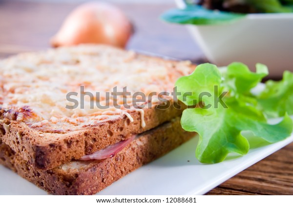 Croque Monsieur, toasted sandwich with cheese and ham with a salad