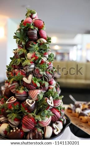 Croquembouche Chocolatecoated Strawberries Stock Photo