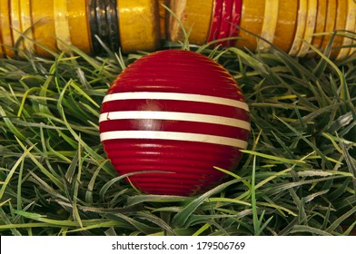 Croquet ball and mallets on green grass