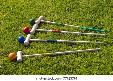croquet family garden game, stick and ball