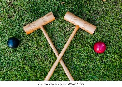 A croquet set.