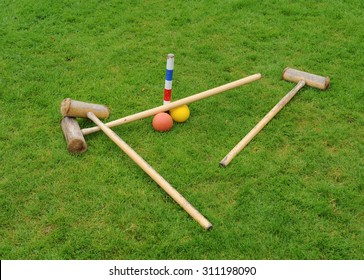 Croquet Set on a Lawn in Cheshire, England, UK