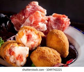 Croquettes, spanish tapas croquetas de jamon