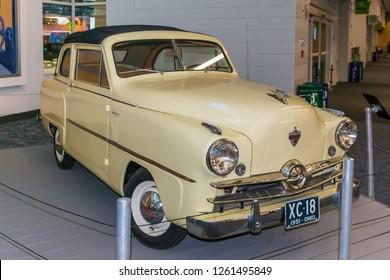Crosley retro 1951 sedan on display at the Cincinnati Northern Kentucky International Airport in Hebron Kentucky December 17th 2018 USA
