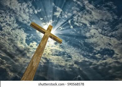Cross against the sky. Easter. Christian symbol
