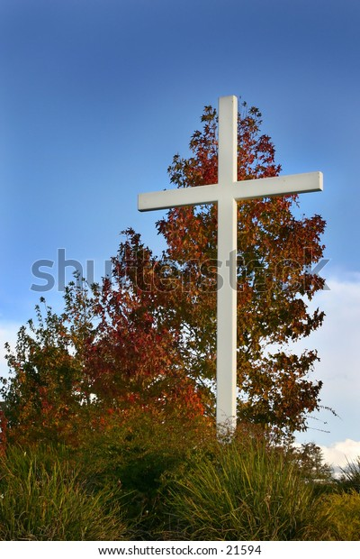 Cross with autumn colors