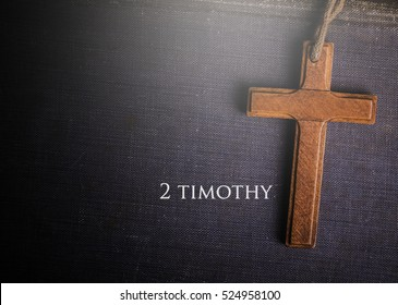 A cross with Bible book of 2 timothy