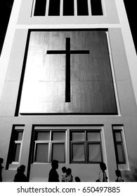 cross in black and white
