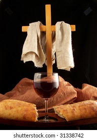 Cross with bread and wine (Communion)