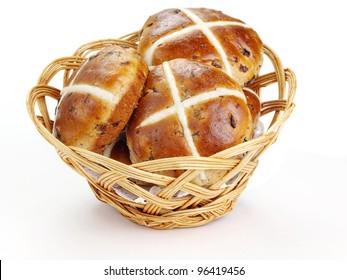 Cross buns.  Basket with fresh hot cross buns