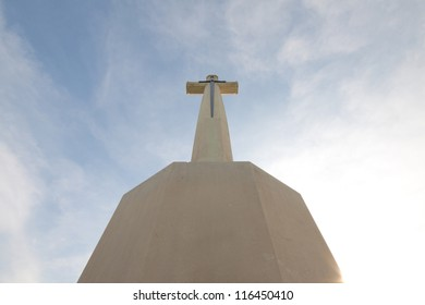 Cross cement white font view for background