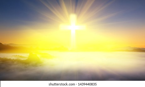 The cross of Christ in the sky and the bright light