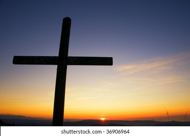 Cross of Christ in the sunset