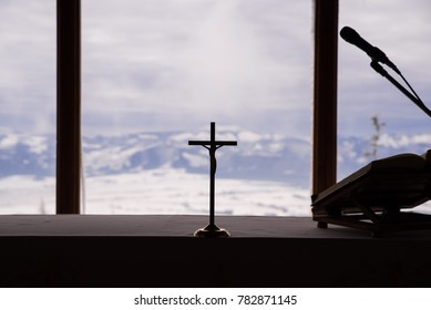 Cross in church silhouette
