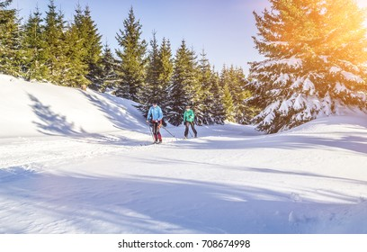 Cross country skating in beautiful winter landscape