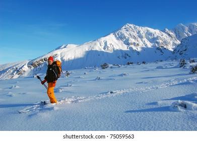 Cross country skier in Gasienicowa valley of High Tatras