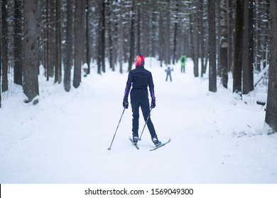 Cross country. A skier is skiing in winter in the woods.