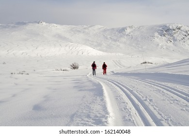 Cross country skiing at Rondane National Park, near the village of Hovringen. Norway