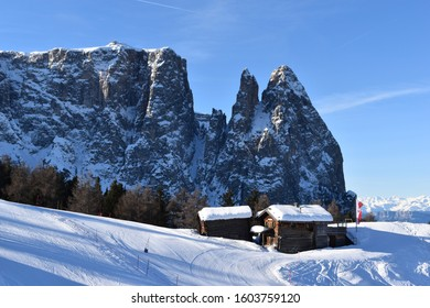 Cross country skiing in Seiser Alm, the Alps