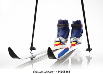 Cross country skis and shoes