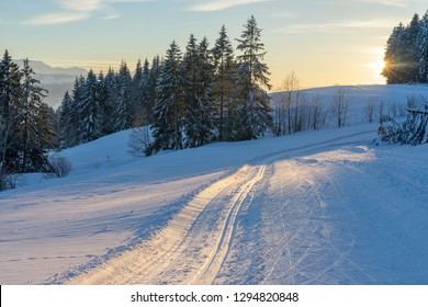 cross country skking track at sunset in the Bregenzer wald area of Vorarlberg, Austria