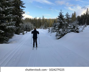 Cross county skier in snow track at beautiful day at mountains
