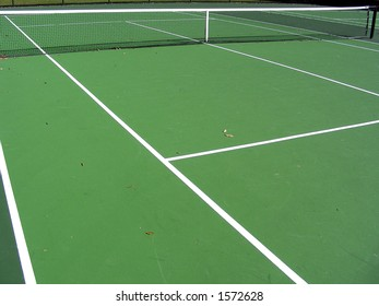 Cross court view on a tennis court