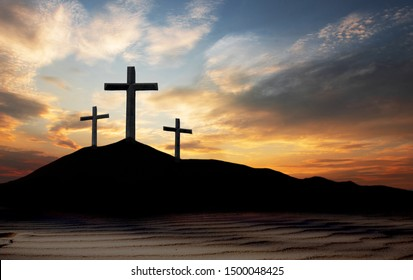 cross crucifixion of the crucifixion of jesus christ on a mountain with a sunset background
