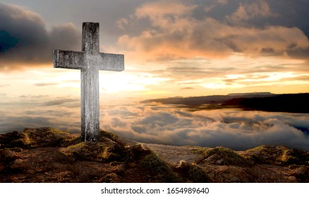 cross crucifixion jesus christ On a mountain with a sunset background, abstract concept
