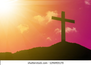Cross, crucifixion, Jesus Christ, with a sunset background, abstract concept