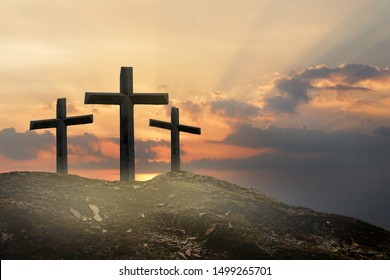 Cross, crucifixion on the mountain, Jesus Christ, abstract concept