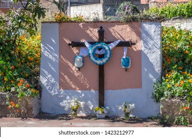 Cross decorated with flowers on the outskirts of the city of La Laguna, in Tenerife, Canary Islands