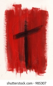 cross, easter, crucifix, christ, red, painted, abstract,
