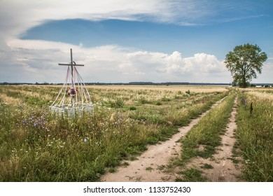 Cross in a field of cereal