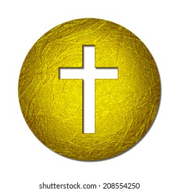 Cross with gold  leaf metal texture and white background
