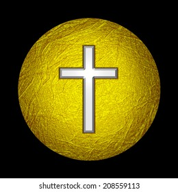 Cross  with Gold  leaf  metal texture and black background