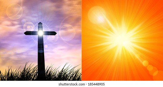 cross in a grass and sunset sky background