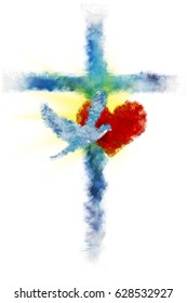 Cross with a heart and a dove - Holy Spirit. Abstract artistic watercolor style digital illustration made without reference image.