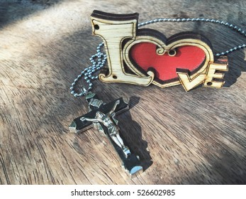 Cross with heart valentines